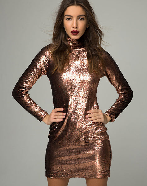 Surt Bodycon Dress in Metallic Sequin Copper by Motel