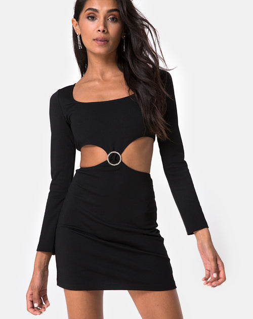 Tashi Bodycon Dress in Black with Diamante Ring Black by Motel
