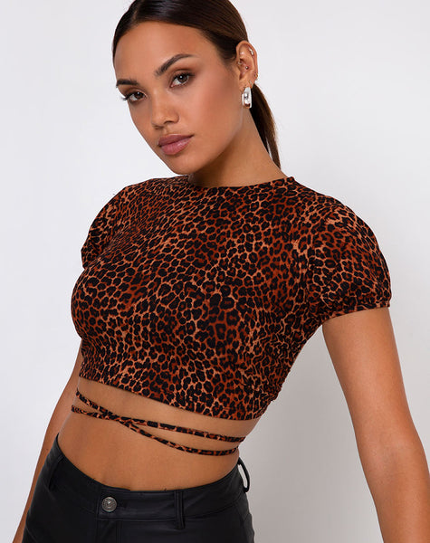 Tasya Top in Ditsy Leopard Orange by Motel