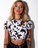 Tasya Crop Top in Mini Cow Black and White by Motel