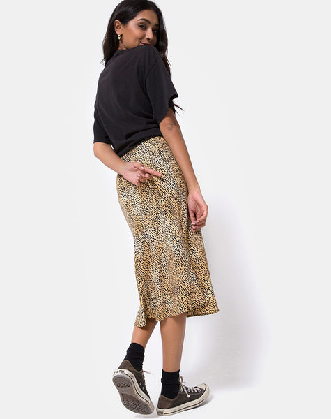 Tauri Midi Skirt in Mini Tiger Brown by Motel