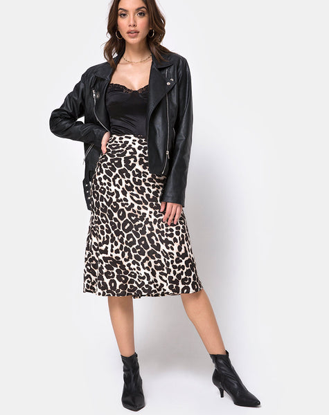Tauri Midi Skirt in Oversize Jaguar by Motel