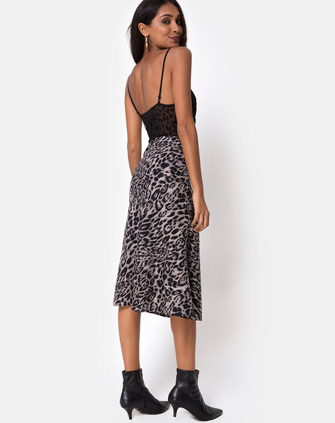 Tauri Midi Skirt in Leopard Grey