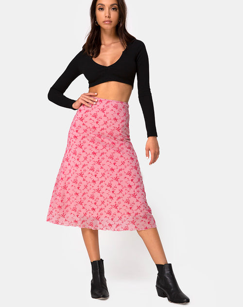 Taura Skirt in Love Bloom Pink Flock