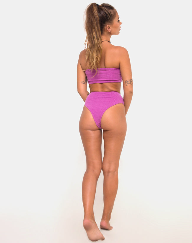 Taya Bikini Bottom in Crinkle Rib Violet by Motel