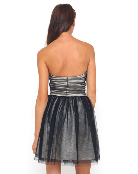 Motel Teardrop Prom Dress in Black and Nude Mesh