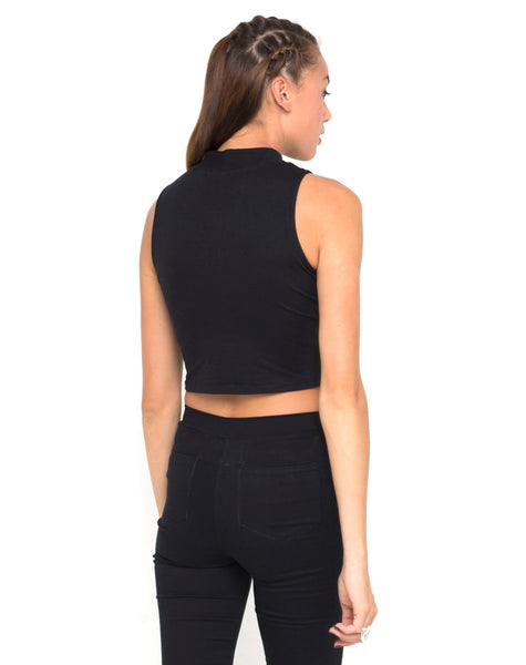 Motel Tempo Mesh Panel Crop Top in Black