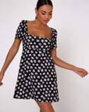 Thalia Babydoll Dress in 90's Daisy Black and White by Motel