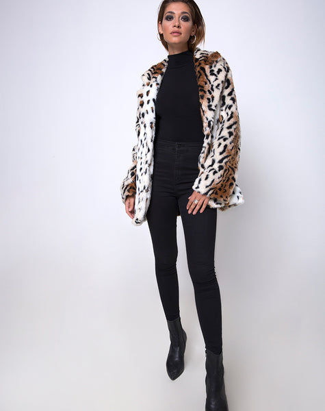 Tina Coat in Leopard Faux Fur by Motel