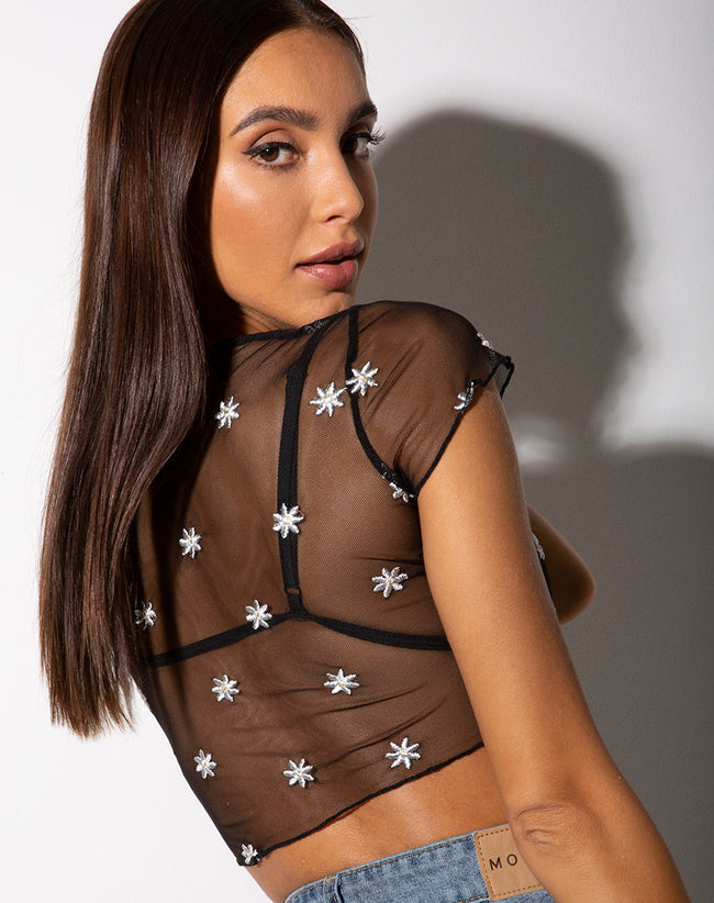 Tince Crop Top in Black Daisy Embro White by Motel