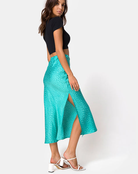 Tindra Skirt in Satin Ditsy Rose Blue by Motel