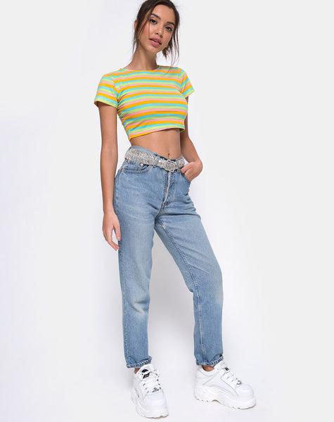 Tindy Crop Top in Sweet Stripe by Motel