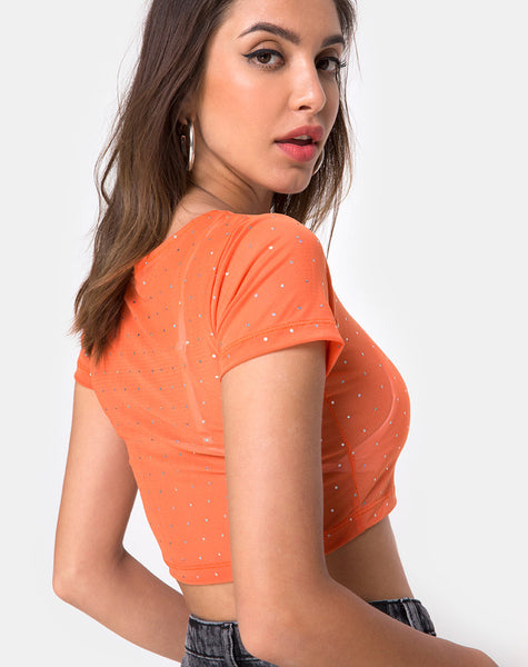 Tindy Crop Top in Crystal Net Orange by Motel