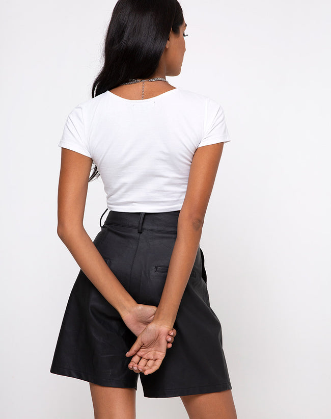 Tindy Crop Top in White Cherub Embro Black by Motel