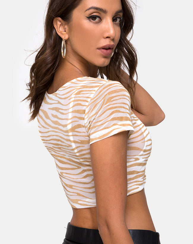 Tindy Top in Net Tan Cream Zebra by Motel