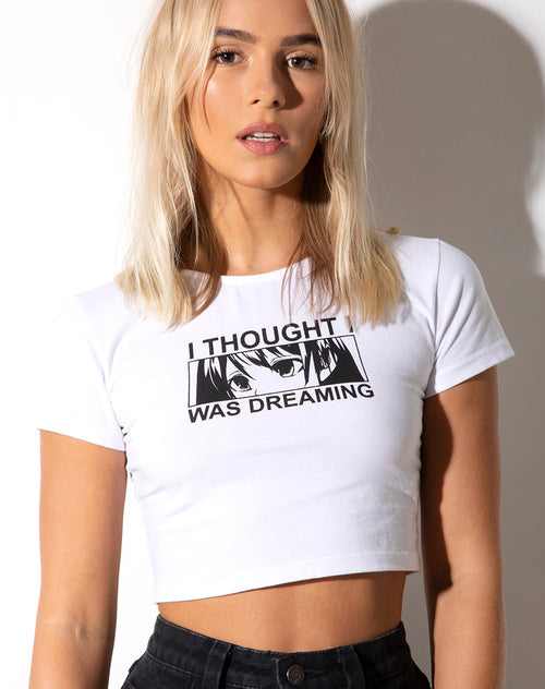 "Tindy Crop Top in White ""I Thought I Was Dreaming"" by Motel"