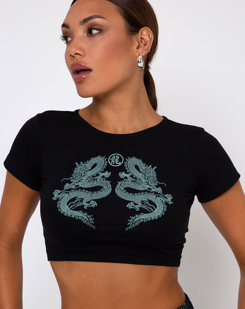 Tindy Top Dragon Flower Black and Mint Placement by Motel