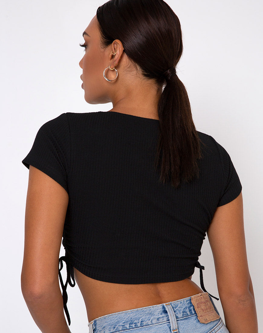 Tiner Crop Top in Rib Black
