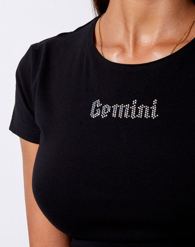 Tiney Crop Tee in Black 'Gemini' Diamante by Motel