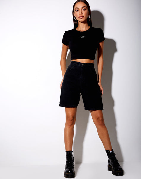 Tiney Crop Tee in Black 'Leo' Diamante by Motel