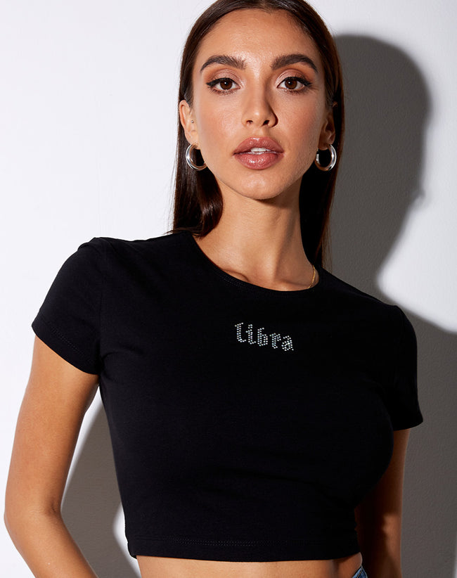 Tiney Crop Tee in Black 'Libra' Diamante by Motel