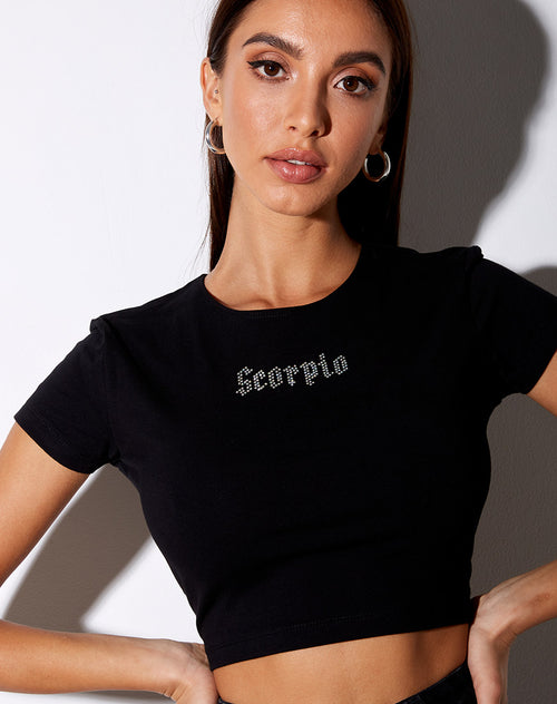 Tiney Crop Tee in Black 'Scorpio' Diamante