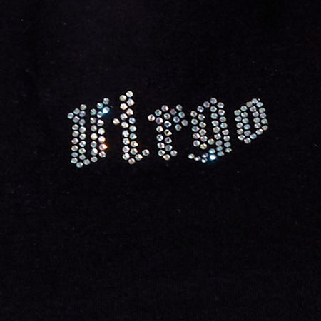 Tiney Crop Tee in Black 'Virgo' Diamante