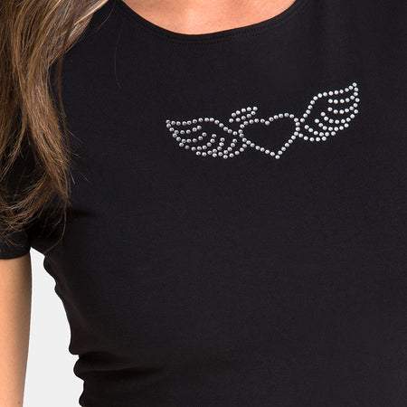 Tiney Tee in Black with Angel Heart Diamante by Motel