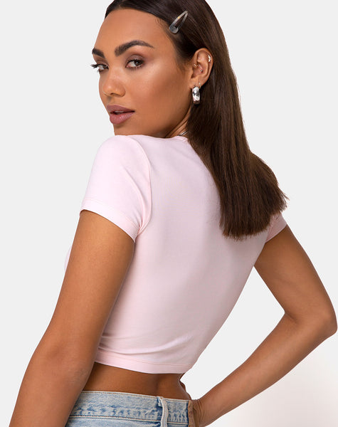 Tiney Tee in Pale Pink with Angel Diamante by Motel