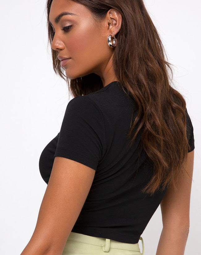 "Tiney Crop Tee in Black ""Pisces"" Diamante by Motel"