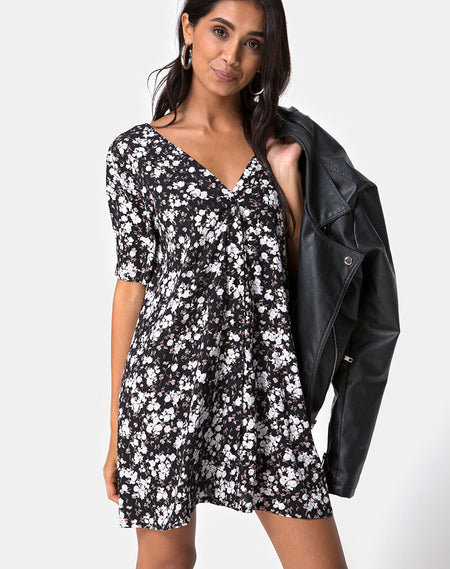 Tisha Babydoll Dress in New Polka Nude Black by Motel
