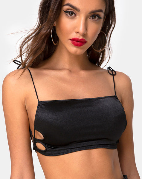 Tisya Crop Top in Satin Black by Motel