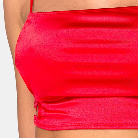 Tisya Crop Top in Satin Red