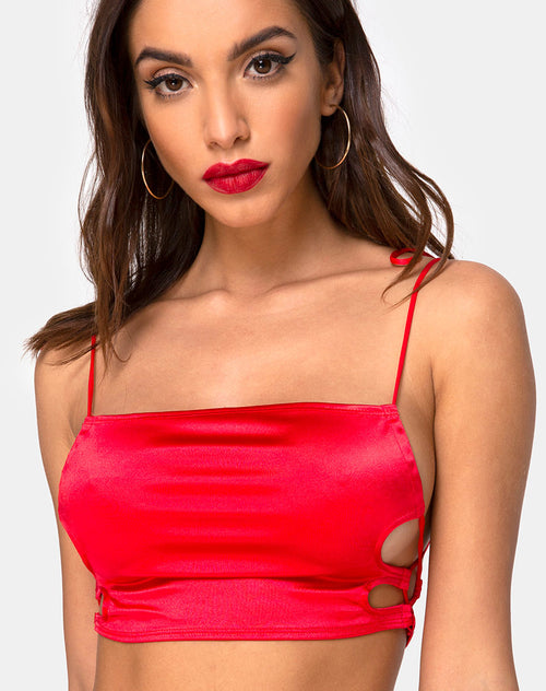 Tisya Crop Top in Satin Red by Motel