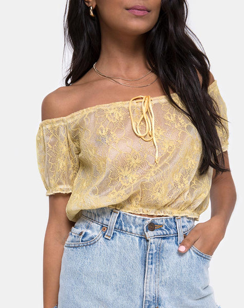 Eva Crop Top in Pastel Lace Lemon by Motel