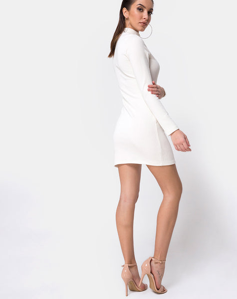 Tor Bodycon Dress in Rib White by Motel