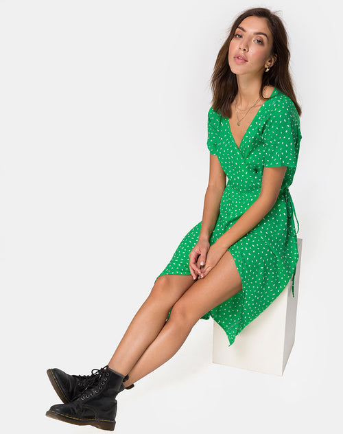 Trasti Wrap Dress in Mini Diana Dot Green by Motel