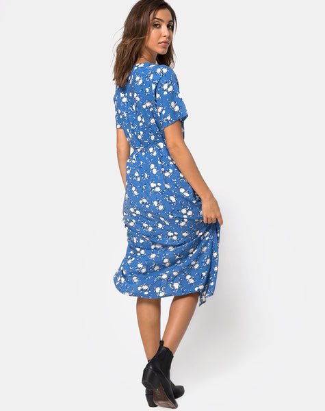 Trasti Midi Dress in Soheila Floral Blue by Motel