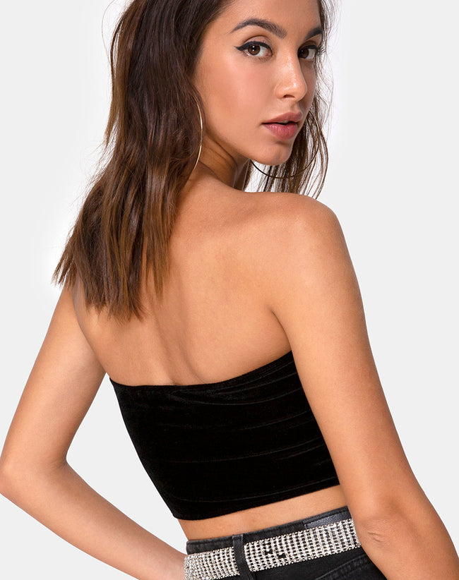 Tube top in Black with Angel Diamante Hot Fix by Motel