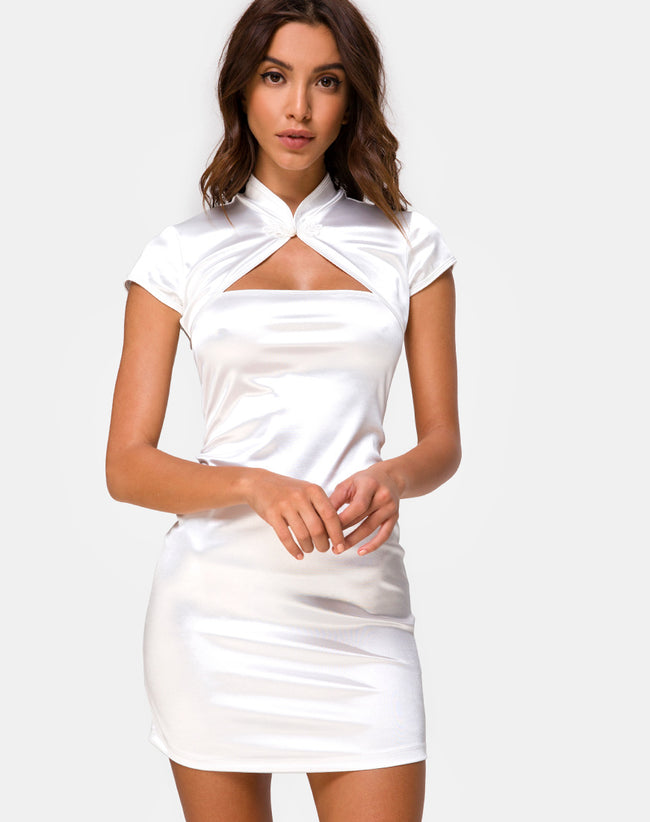 Tuli Mini Dress in Spandex Ivory by Motel