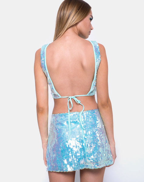 Wei Mini Skirt in Row Sequin Ice Shimmer by Motel