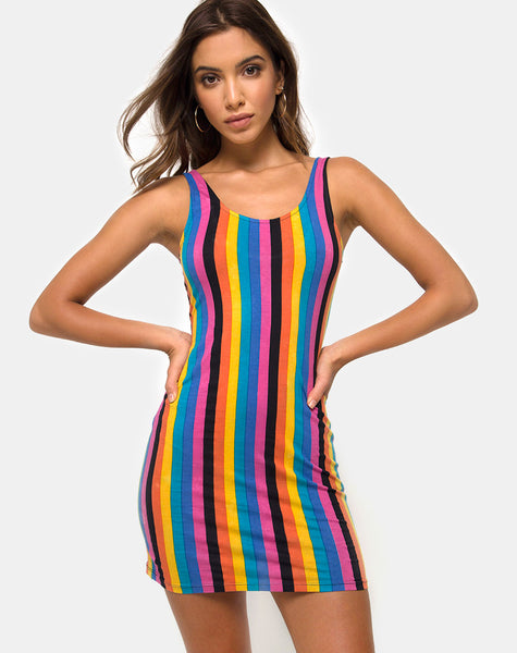 Uniper Bodycon Dress in New Vertical Mixed Stripe