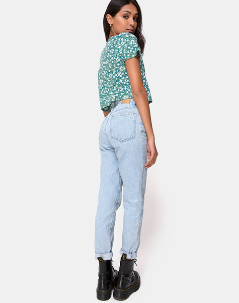 Vaco Blouse in Floral Field Green by Motel