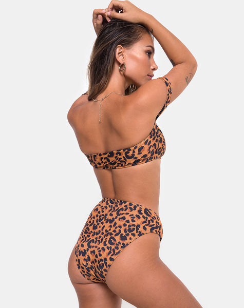 Val Bikini Top in Burn Out Leopard by Motel