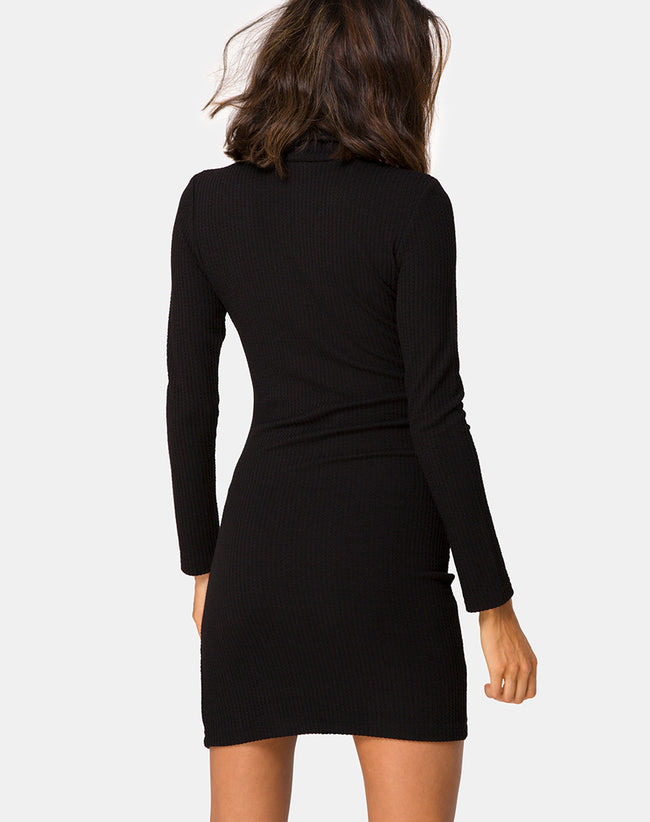 Valda Dress in Rib Black By Motel
