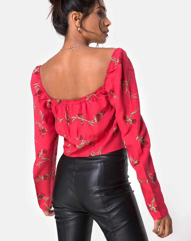 Valena Top in Rouge Rose Pink by Motel