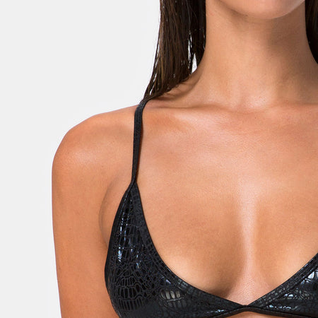 Valter Bikini Top in Black Oil Snake By Motel