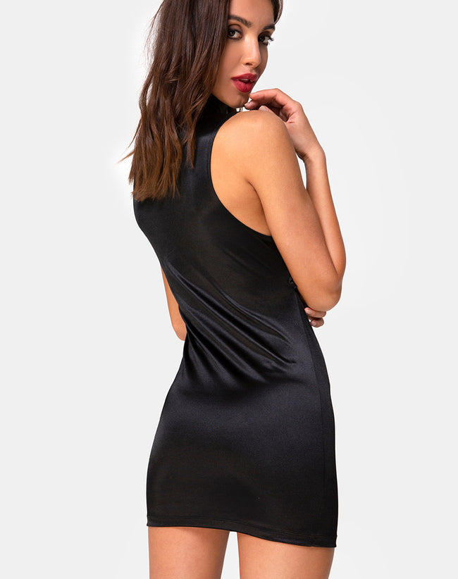 Vinika Dress in Satin Black by Motel