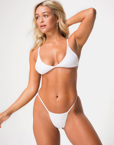 147a164892 Glamazon Plunge Neck Swimsuit in Soft Gold by Motel · Valter Bikini Top in  White by Motel
