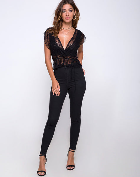 Veronica Wrap Top in Romantic Lace Black by Motel